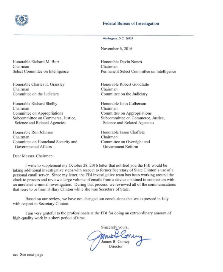 Letter by FBI traitor James Comey